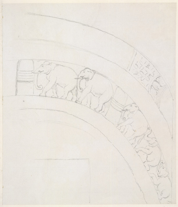 Part of the elephant frieze over the doorway at the Barabar caves. 1790